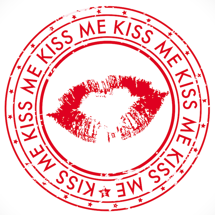 Kiss me rubber stamp